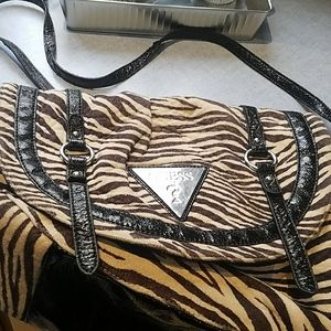 GUESS soft fur animal print crossbody hobo bag